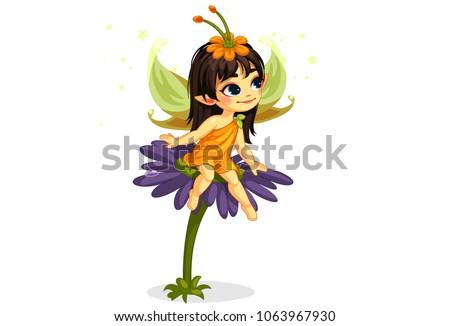 beautiful little fairy sitting on the flower