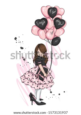 Beautiful little girl in a dress and with heart-shaped balloons. Charming baby. Valentine's Day, love, cupid. Vector illustration for postcard or poster, print for clothes. Angel.