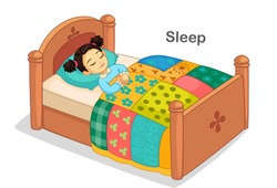 Beautiful little girl sleeping on a bed vector illustration