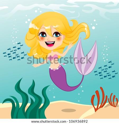 Beautiful little mermaid girl happy swimming underwater