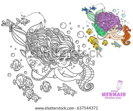 Beautiful little mermaid girl swimming with sea horse in the hands coloring page on white background