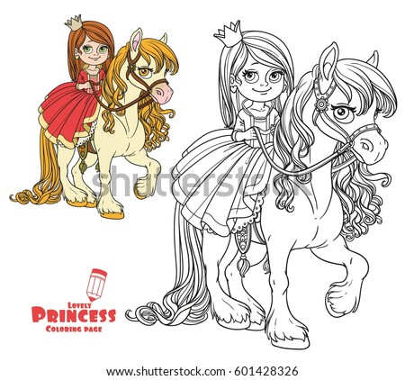 Beautiful little princess riding on horse color and outlined picture for coloring book on white background