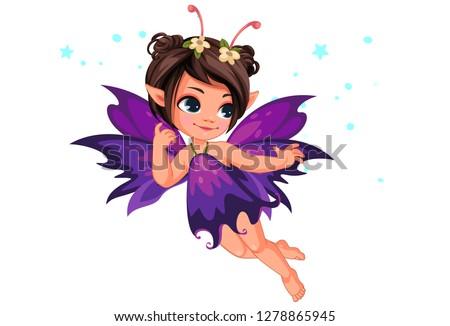 Beautiful little purple flower fairy flying