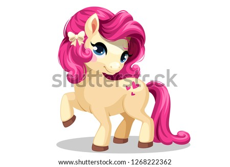 Beautiful little white pony with beautiful pink colored hairstyle in standing pose vector illustration
