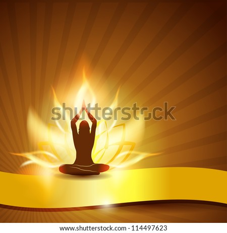 Beautiful lotus flower like fire, woman in yoga pose in the front and golden ribbon. You can add text on the ribbon if necessary. Beautiful harmonic colors.