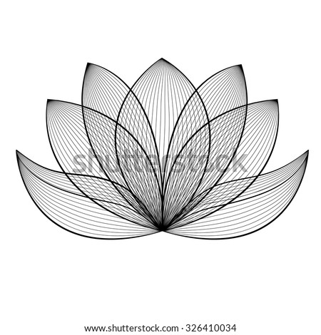 Beautiful lotus flower line illustration. Vector abstract black and white floral background