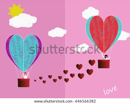 Beautiful love story of a guy and a girl in a hot air balloon. Suitable for the holiday of lovers and agencies #646566382