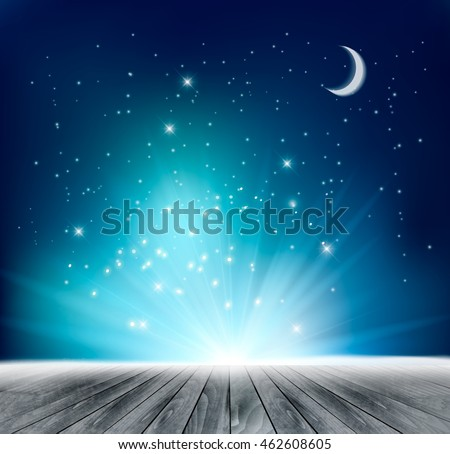 Beautiful magical night background with moon and stars. Vector. #462608605