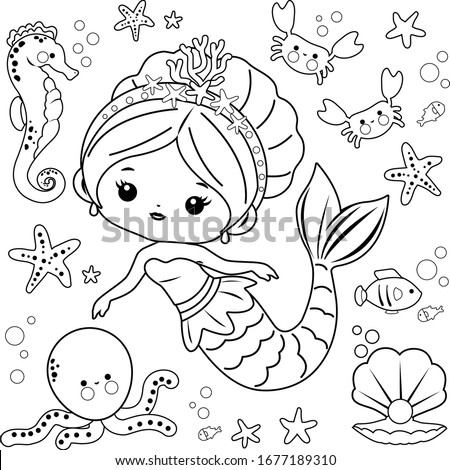 Beautiful mermaid and sea animals. Vector black and white coloring page. Сток-фото ©