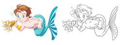 Beautiful mermaid boy. Coloring page and colorful clipart character. Cartoon design for t shirt print, icon, logo, label, patch or sticker. Vector illustration.