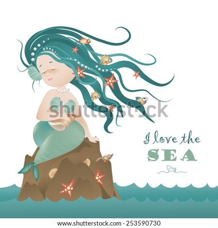 beautiful mermaid girl sitting