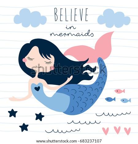beautiful mermaid girl vector