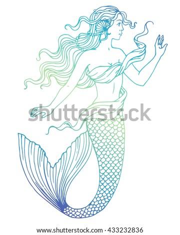beautiful mermaid outline