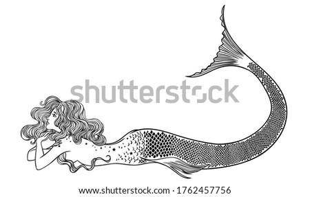 Beautiful mermaid with. Hand drawn illustration. Sea, fantasy, spirituality, mythology, tattoo art, coloring books. Isolated vector illustration. Сток-фото ©