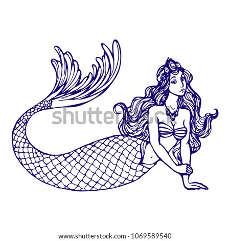 Stock Photo Beautiful Mermaid with tail and long hairs hand drawn ink line art illustration for coloring book page