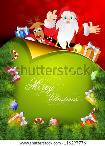 Beautiful Merry Christmas greeting card or gift card with Santa his team and gift boxes. EPS 10.