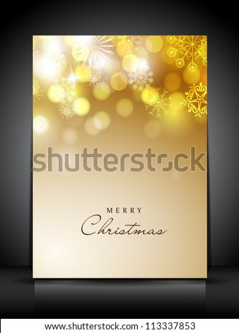 Beautiful Merry Christmas greeting or gift card with snowflakes and light. EPS 10.