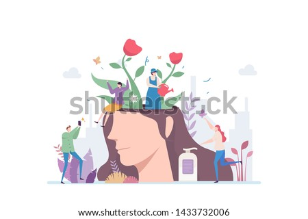 Beautiful Mind Vector Illustration Concept Showing a beautiful flower garden inside a pretty female head, Suitable for landing page, ui, web, App intro card, editorial, flyer, and banner.