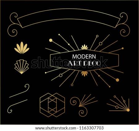 Beautiful Modern Art Deco Cards Templates vector
