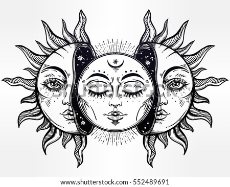 Beautiful Moon and Sun with faces. The sun is broken in half, the moon emerges. Vintage hand drawn eclipse. Vector illustration for coloring book, t-shirt design, tattoo. Ethnic decor, Bohemian art.