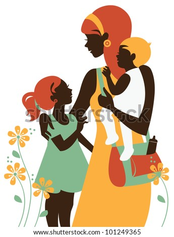 Beautiful mother silhouette with her children. Card of Happy Mother Day.