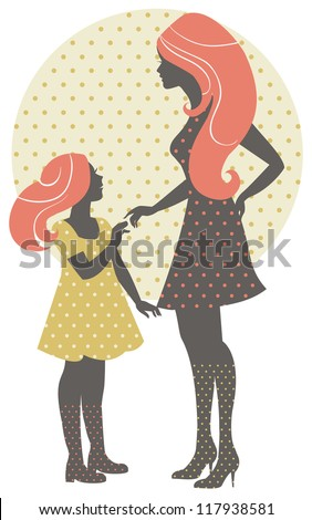 Beautiful mother silhouette with her daughter in retro style	 - stock vector