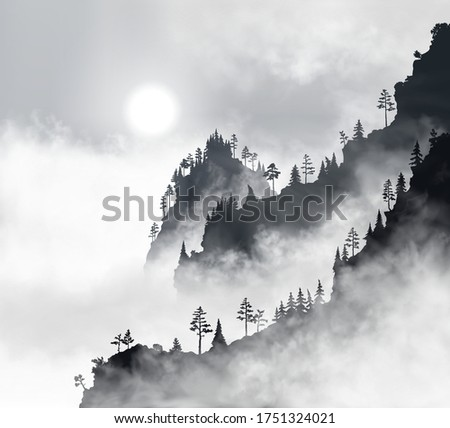 beautiful mountain forest at