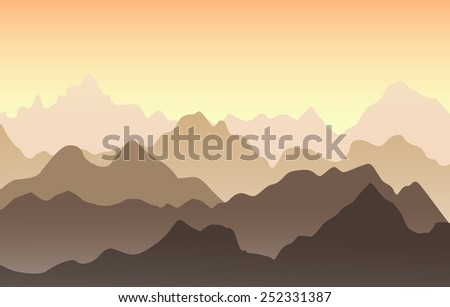 Beautiful Mountain Landscape In The Summer Evening Vector Illustration Sunset Mountains