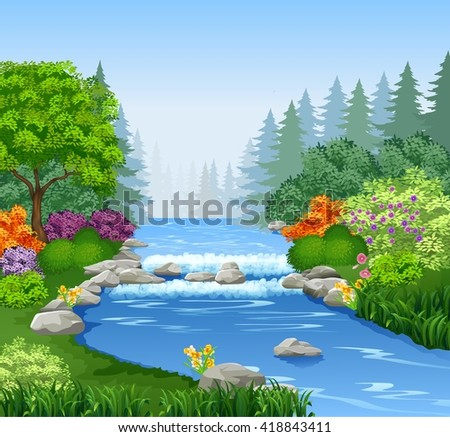 beautiful mountain river in