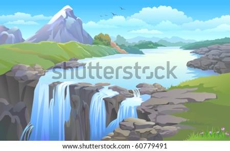 beautiful mountain side  river