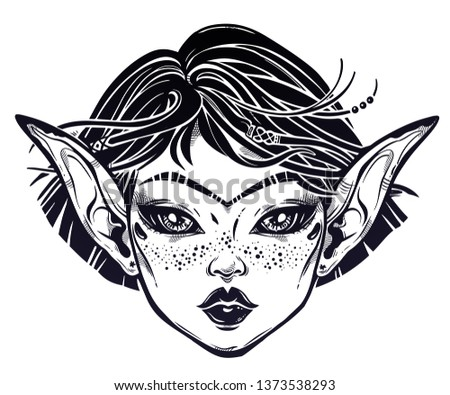 Beautiful mystic girl. Young elf magic woman with long ears, unibrow and hair blown by the wind. Alchemy, tattoo art, t-shirt design, adult coloring book page. Isolated vector. Pagan goddess.