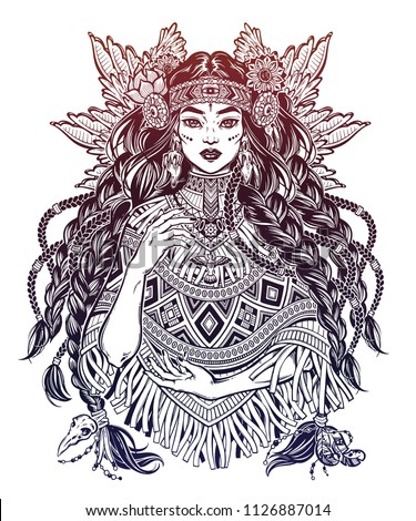 Beautiful Native American Indian woman. Ethnic tribal shaman girl with long heair and wearing traditional poncho. Wild spirit of the West. Vector isolated illustration. Magic and tattoo.