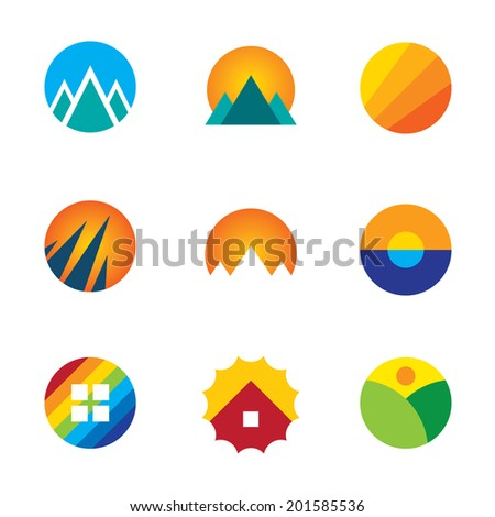 Beautiful nature circle view landscape set mountains logo experience icon