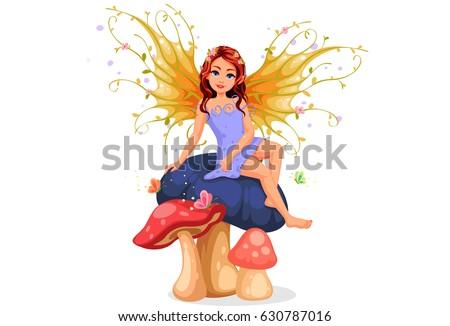 Beautiful nature fairy sitting on a mushroom