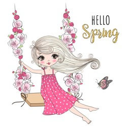 Beautiful, nice, cute girl swinging on a swing on a background with the words Hello Spring.