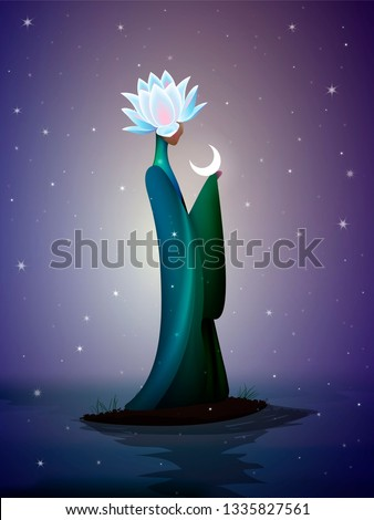 beautiful night fairy, sping fairy, fantastic   river fairy, silhouette of woman with lily flower on the head top on the river and the moon, vector