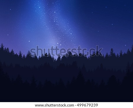 Beautiful night sky over forest. Vector illustration.