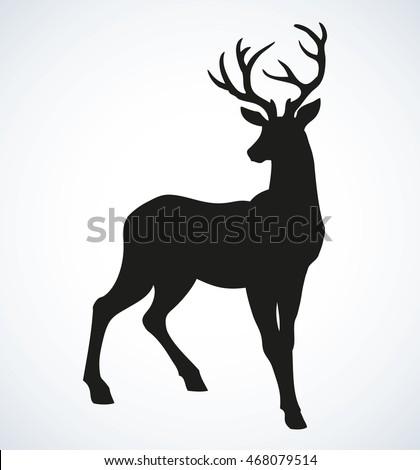 stock-vector-beautiful-noble-proud-sika-deer-are-ruminant-mammal-in-family-cervidae-side-view-dark-ink-hand