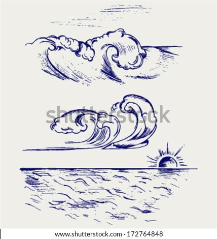 Beautiful Ocean Wave. Doodle style