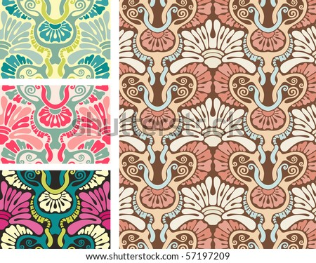 beautiful oldfashioned wallpaper pattern stock vector