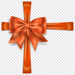 Beautiful orange bow with crosswise ribbons with shadow on transparent background. Transparency only in vector format