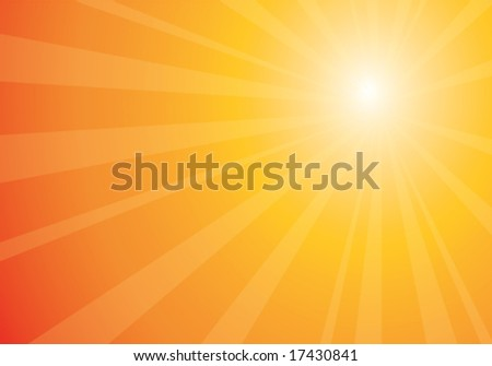 beautiful orange sunburst, vector abstract background - stock vector