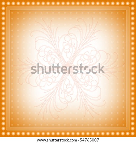 Beautiful orange vector background with ornament and dot border - stock vector