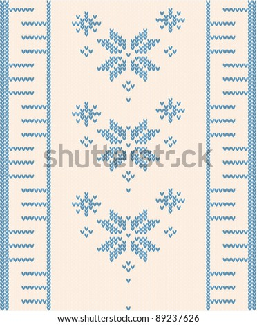 Beautiful ornamental pattern for knitting with blue flower