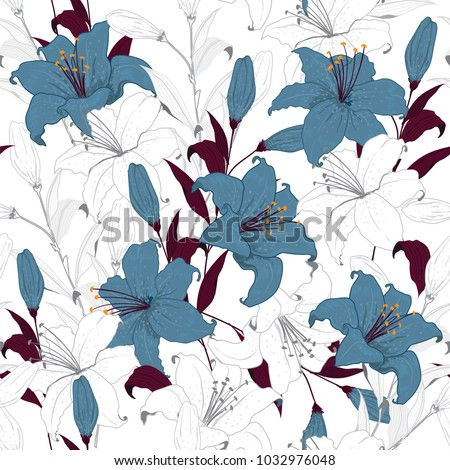 Stock Photo Beautiful outline Floral pattern lily flowers. Botanical  Motifs random. Seamless vector texture. For fashion prints. Printing with in hand drawn tecnic on white background in unfinished style