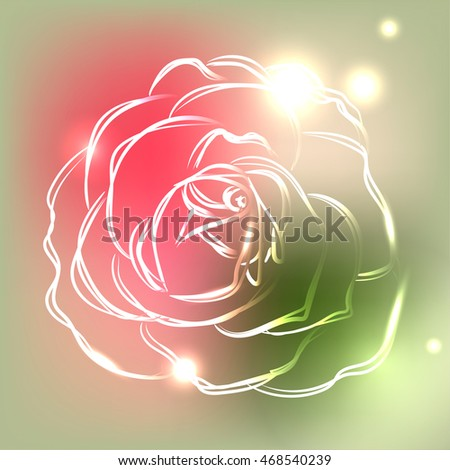 beautiful outline rose on
