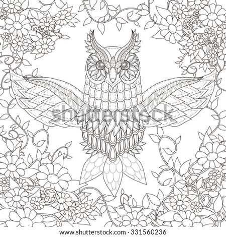 beautiful owl coloring page