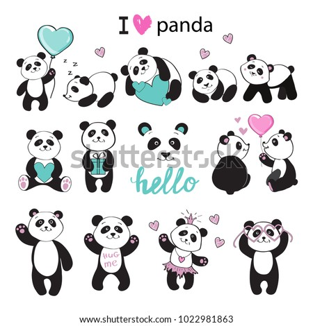 beautiful pandas collection on a white background