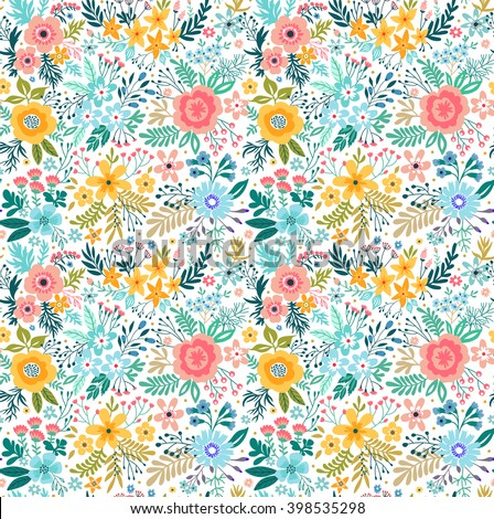 Beautiful pattern in small flower. Small colorful flowers. White background.