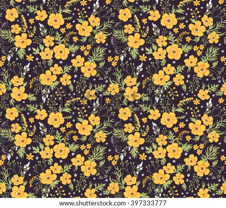 Beautiful pattern in small flower. Small yellow flowers.  Black background. Seamless floral pattern.